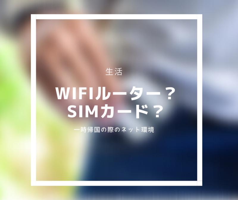 【一時帰国】WiFiルータ?SIMカード?一時帰国の際のネット環境はどうする?